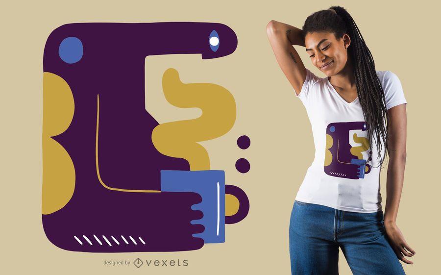 Abstraktes Kaffeemann-T-Shirt Design