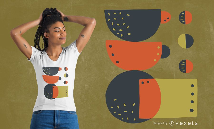Abstract coffee mugs t-shirt design