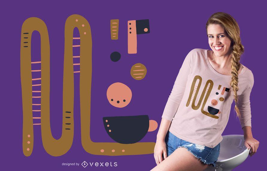 Abstraktes Kaffeegetränkt-shirt Design