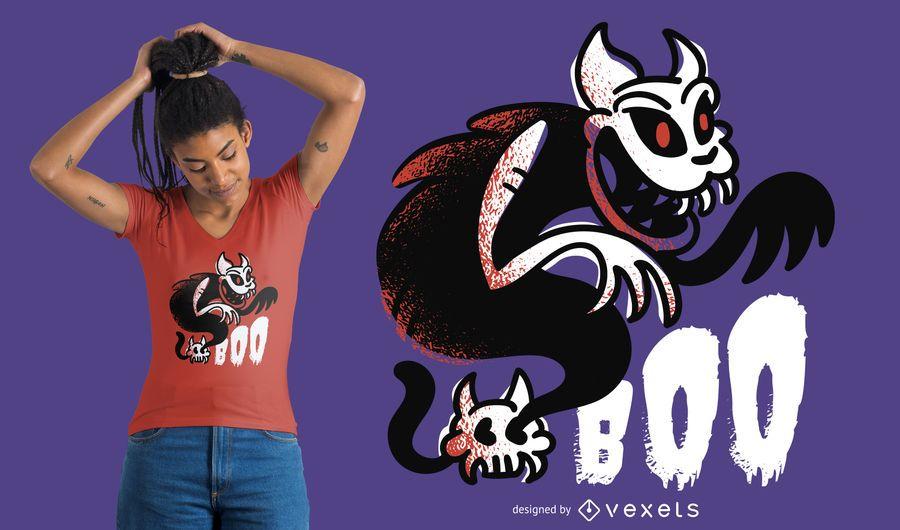 Diseño de camiseta Boo Ghost Cat