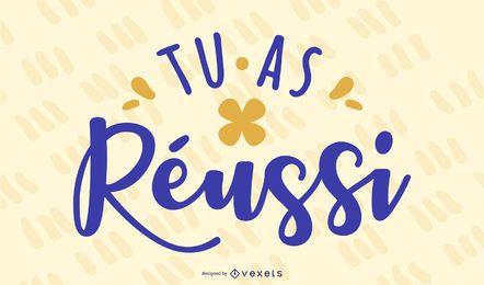 Banner de cotización francesa de letras de éxito