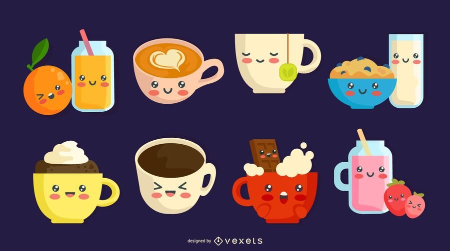 Kawaii breakfast drinks set