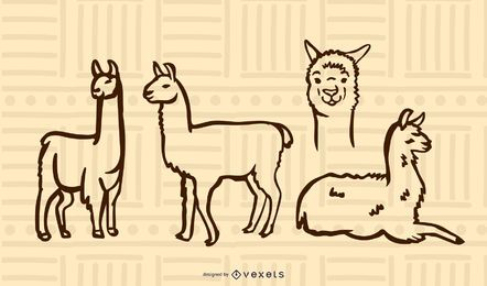Conjunto de doodle de lhama