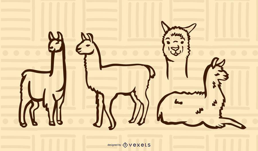 Conjunto de doodle de llama