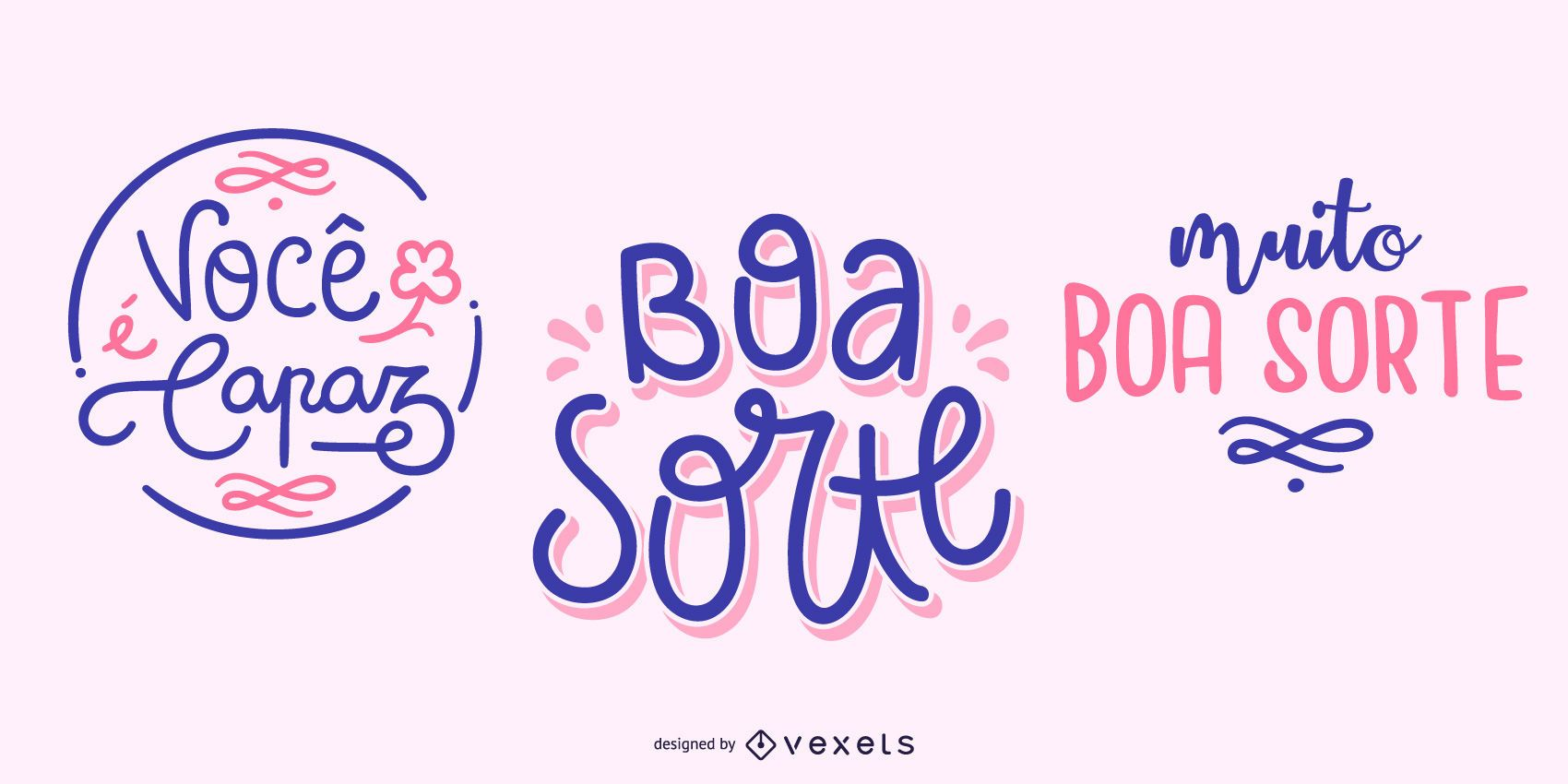 Conjunto de banners de cita portuguesa de buena suerte