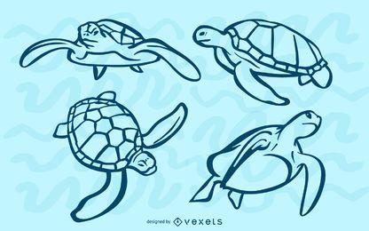 Conjunto de acidente vascular cerebral tartarugas marinhas