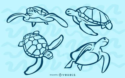 Sea turtles stroke set