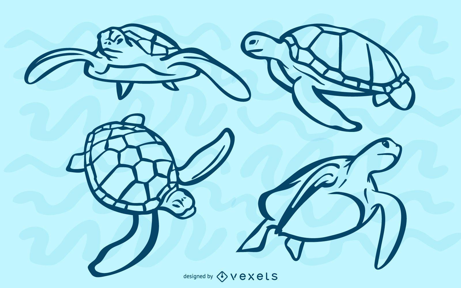 Sea turtles stroke set