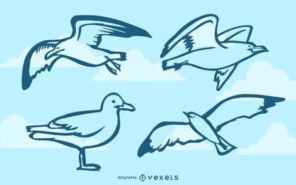 Gaivotas doodle conjunto