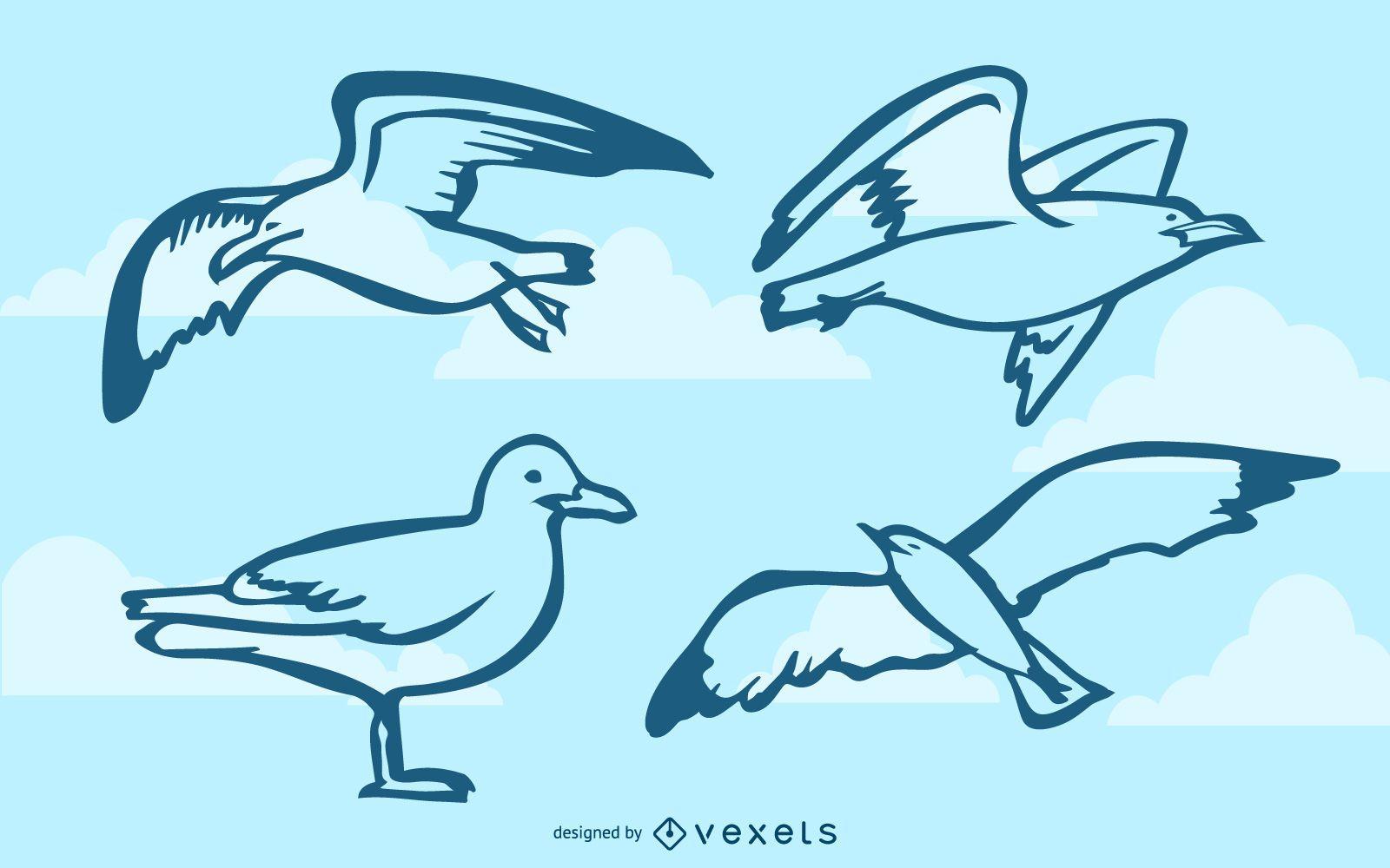 Seagulls doodle set
