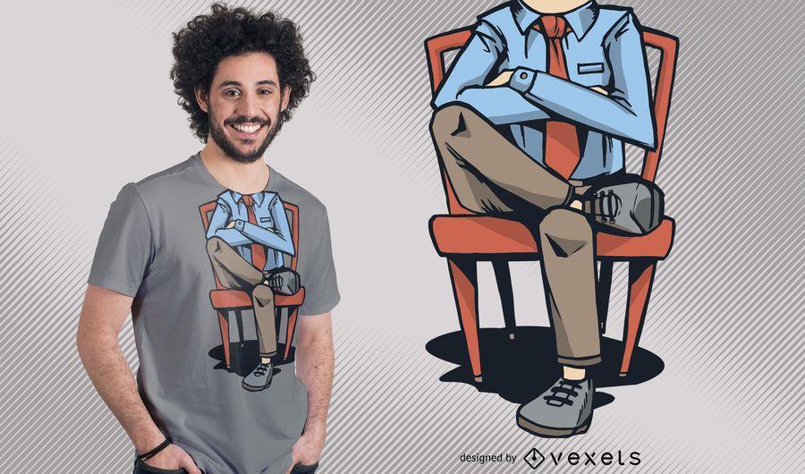 Diseño divertido de la camiseta del hombre sin cabeza