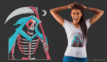 Design de camiseta do Grim Reaper Skeleton