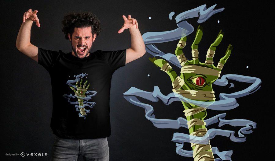 Diseño de camiseta de mano de momia