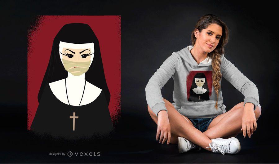 Design de camiseta para freira de Halloween