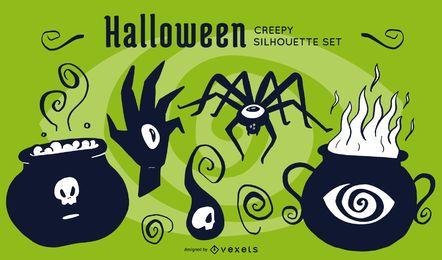 Siluetas espeluznantes de Halloween
