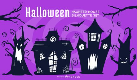 Conjunto de casas encantadas de Halloween