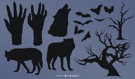 Colección de silueta de elementos de Halloween