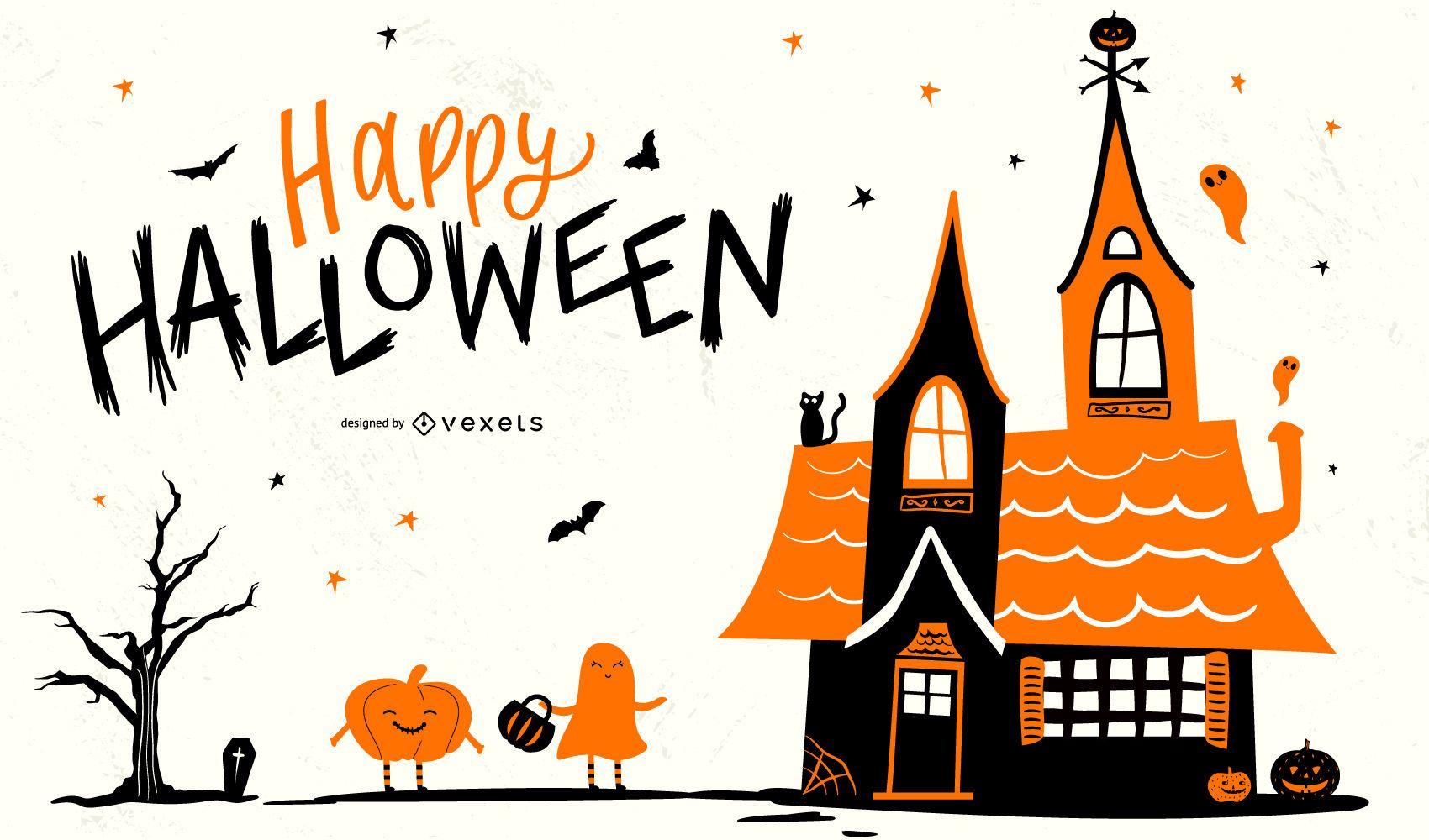 Dise?o de fondo feliz halloween