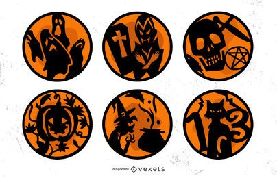 Halloween Orange Badges Set