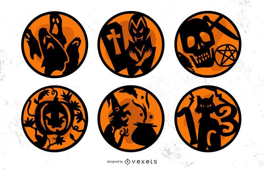 Conjunto de emblemas laranja de Halloween
