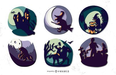 Halloween Silhouette Badges Design