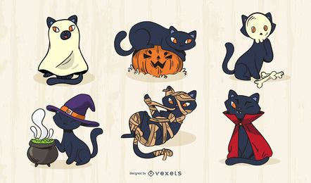 Conjunto de vetores de gato Halloween