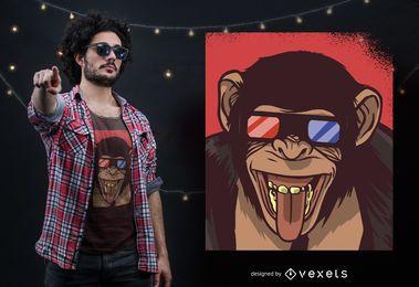 Diseño de camiseta de gafas 3D mono