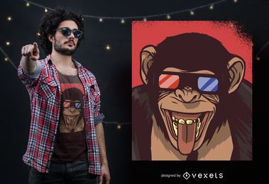 Monkey 3D Glasses Design de T-shirt