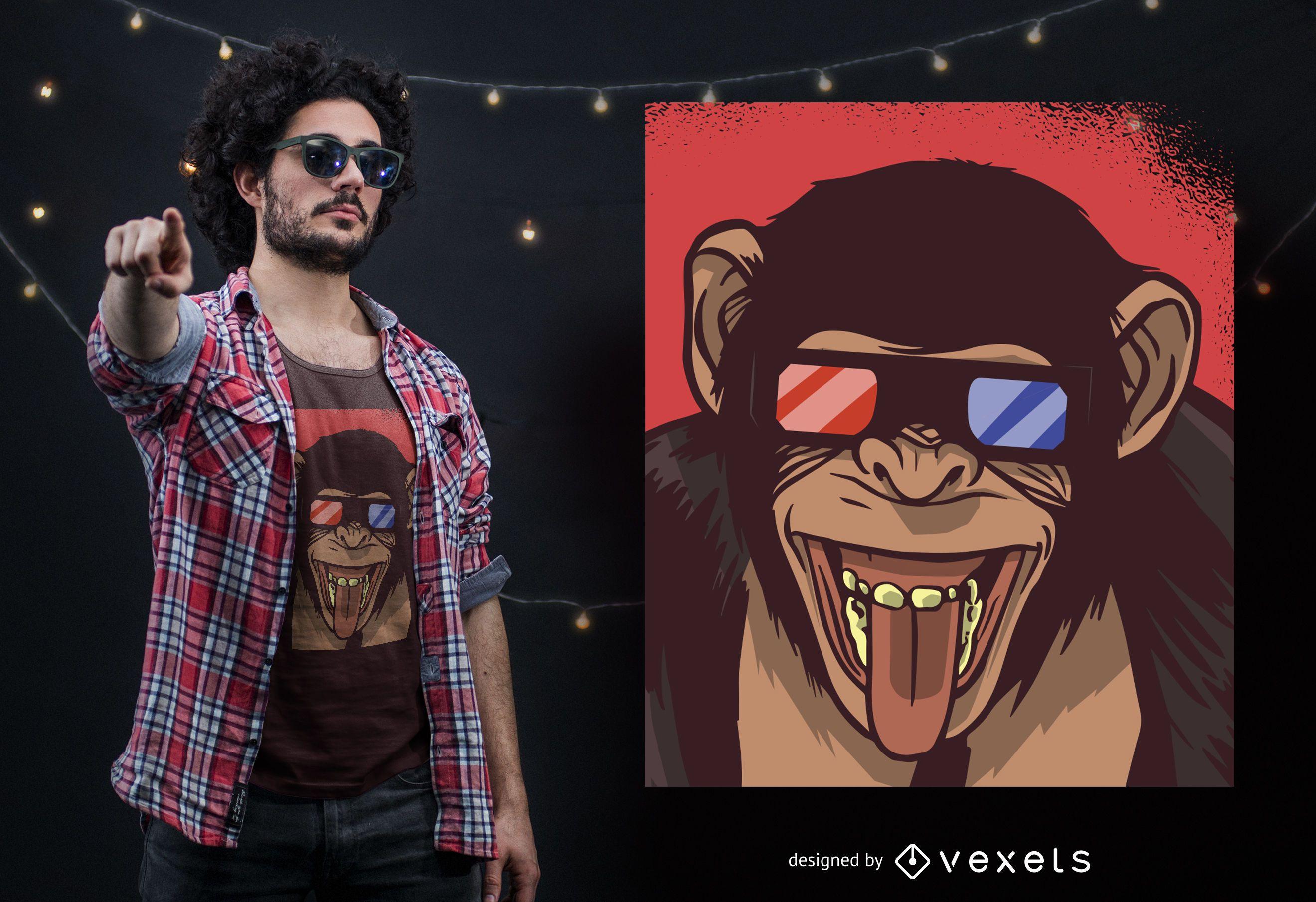 Dise?o de camiseta Monkey 3D Glasses