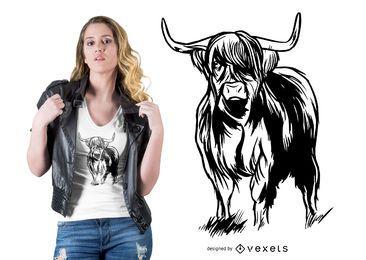 Projeto do t-shirt da vaca do escocês
