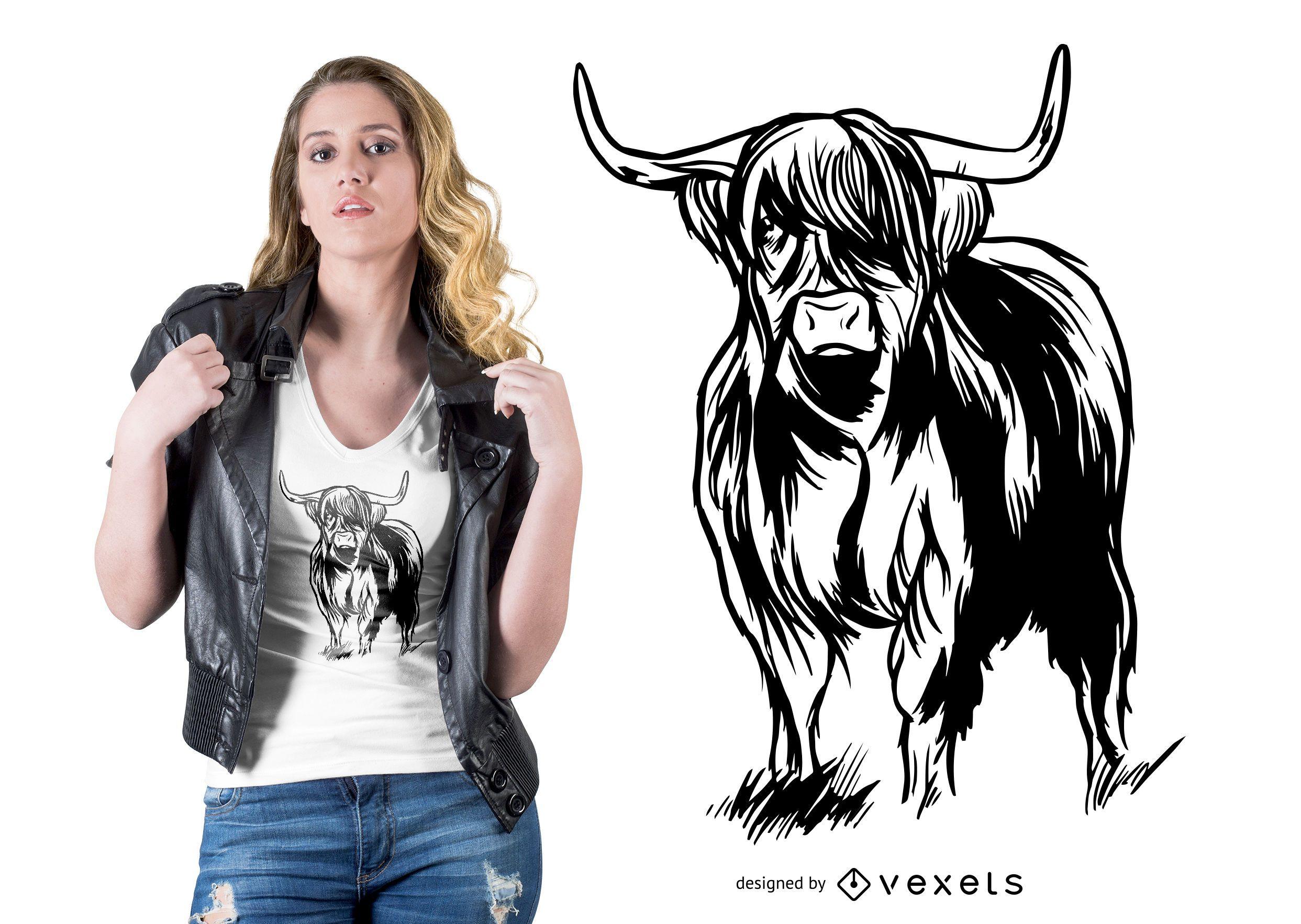 Highlander Cow T-shirt Design