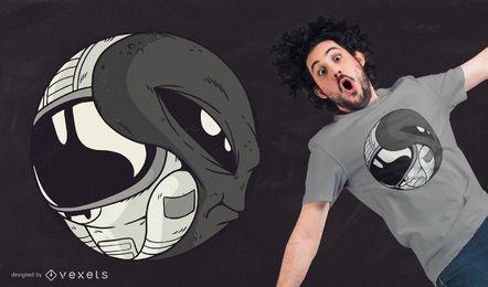 Diseño de camiseta Alien Astronaut Yin Yang