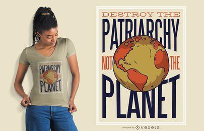 Projeto feminista do t-shirt do planeta