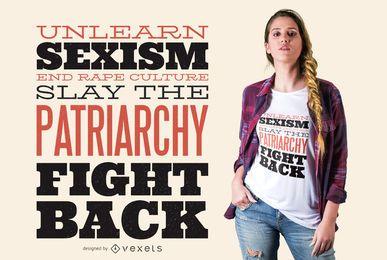 Diseño de camiseta de cita de letras feministas
