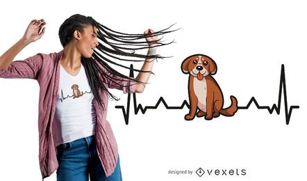 Diseño de camiseta divertida Heartbeat Puppy