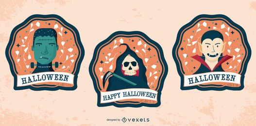 Conjunto de emblemas de personagens de feliz dia das bruxas