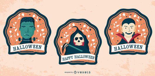 Conjunto de insignia de personajes de feliz Halloween