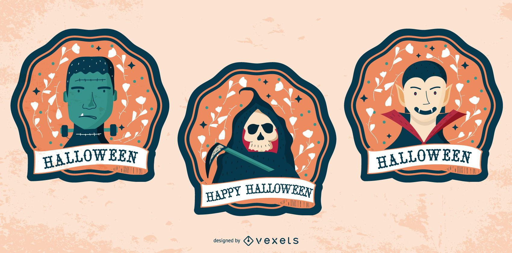 Happy Halloween Characters Badge Set