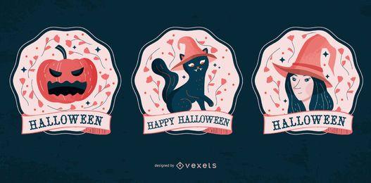 Conjunto de emblemas de personagens de Halloween