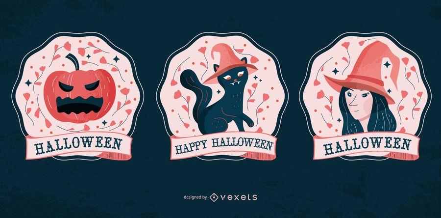 Halloween Characters Badges Set