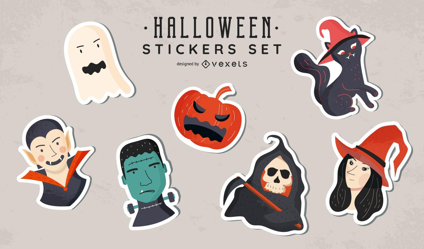 Set de pegatinas de Halloween