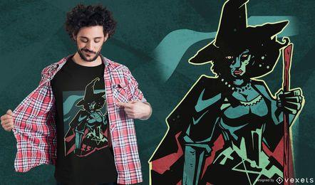Diseño de camiseta de bruja oscura