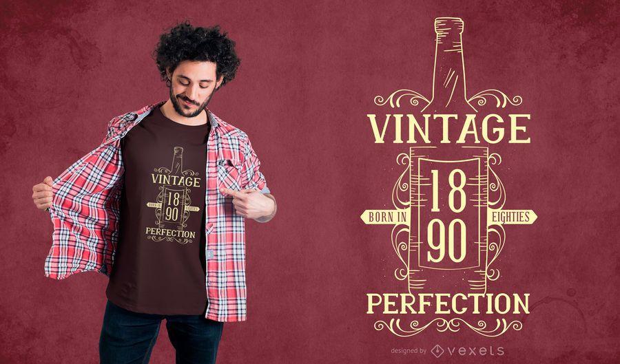 Diseño de camiseta vintage de cita de vino