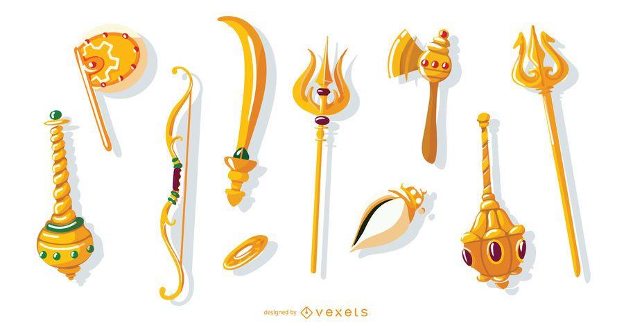 Conjunto de armas de dioses hindúes