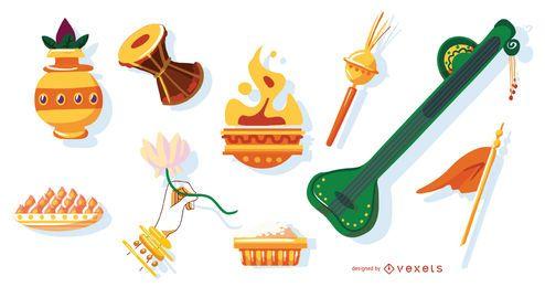 Conjunto de elementos de deuses hindus