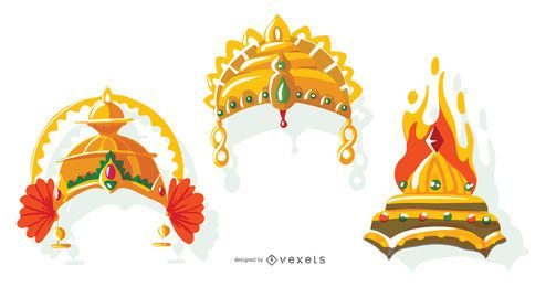 Pacote de vetores de coroa indiana