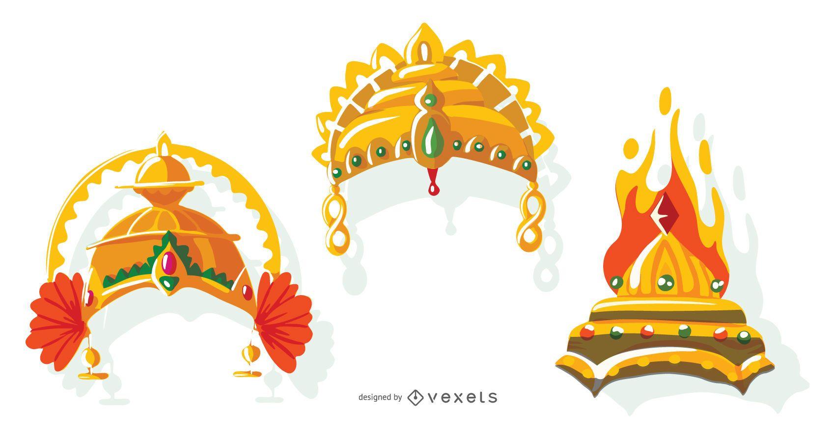 Paquete de vectores de corona india
