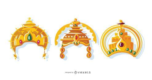 Conjunto de vetores de coroa indiana