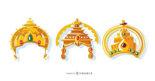 Indian Crown Vector Set