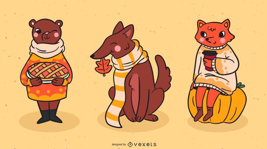 Autumn animals vector set